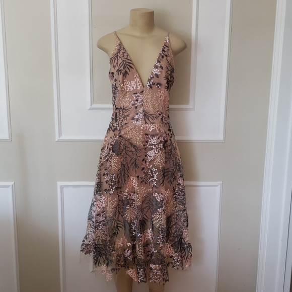 Dress the Population Dresses & Skirts - Dress the population floral embroidered nude dress